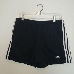 Adidas Black 3 White Stripe Athletic Shorts